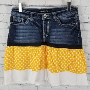 RAMPAGE   layered look polka-dot jean skirt